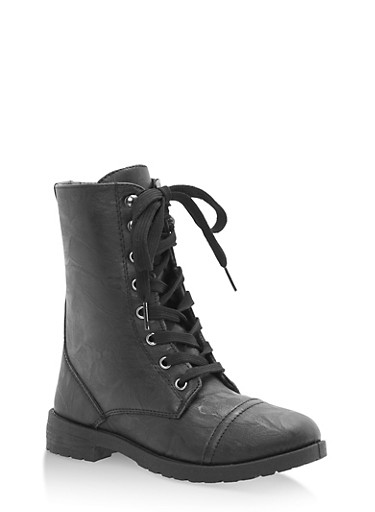 Girls 11-4 Faux Leather Combat Boots at Rainbow Shops in Daytona Beach, FL | Tuggl