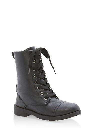 Girls 11-4 Faux Leather Combat Boots,BLACK,large