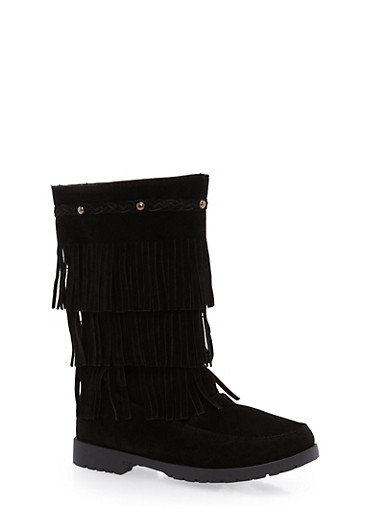 Girls 11-4 Tiered Fringe Boots,BLACK,large