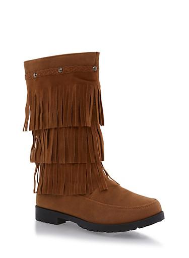 Girls 11-4 Faux Suede Fringe Boots,CHESTNUT,large