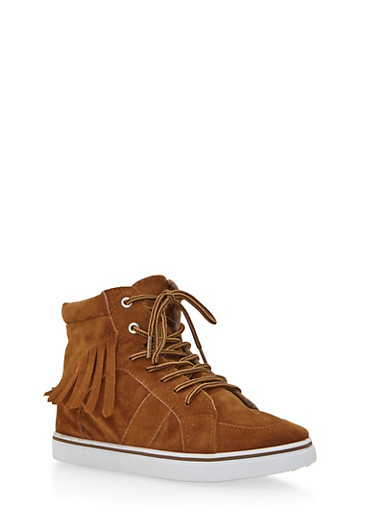 Girls High Top Sneakers with Fringe Trim,RUST,large