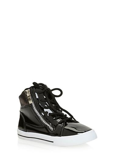 Girls Metallic Dual Zip High Top Sneakers,BLACK,large