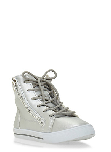 Girls Metallic High Top Sneakers with Zippers,SILVER,large
