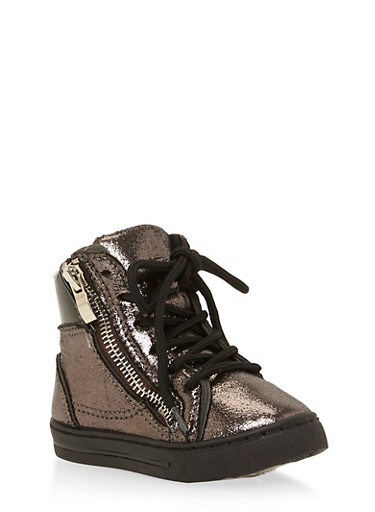 Girls Metallic High Top Sneakers with Side Zippers,BLACK,large