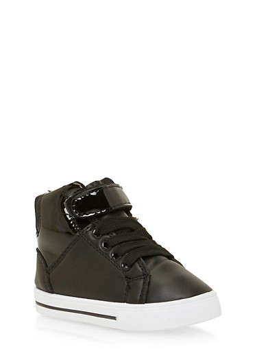 Girls High Top Sneakers with Patent Paneling,BLACK,large