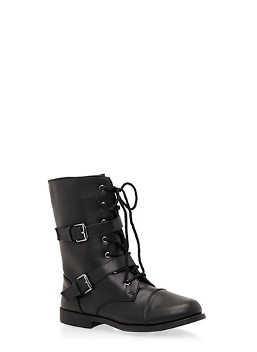 Girls Boots with Dual Buckle Straps,BLACK,large