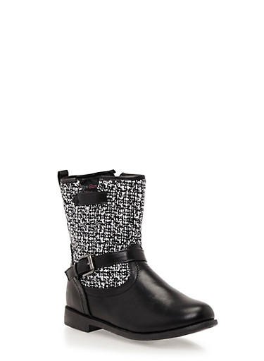 Girls Boots with Tweed Paneling,BLACK,large