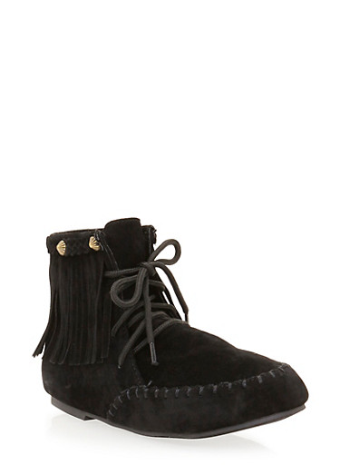 Girls Lace Up Booties with Fringe Trim,BLACK,large