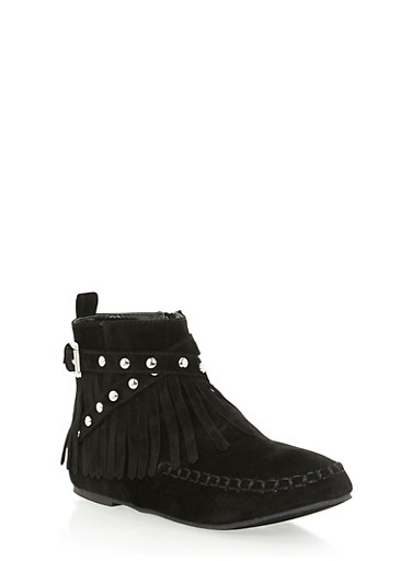 Girls High Top Moccasins with Fringe Accents,BLACK,large