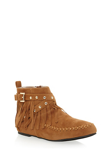 Girls High Top Moccasins with Fringe Accents,RUST,large
