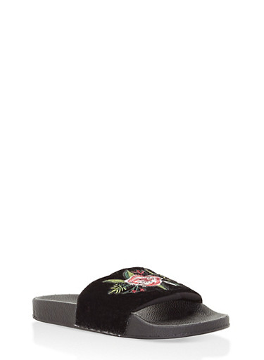 Girls 11-4 Embroidered Crushed Velvet Slides,BLACK,large