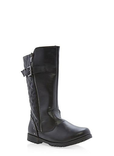 Girls 10-4 Tall Quilted Boots with Buckle Detail,BLACK,large