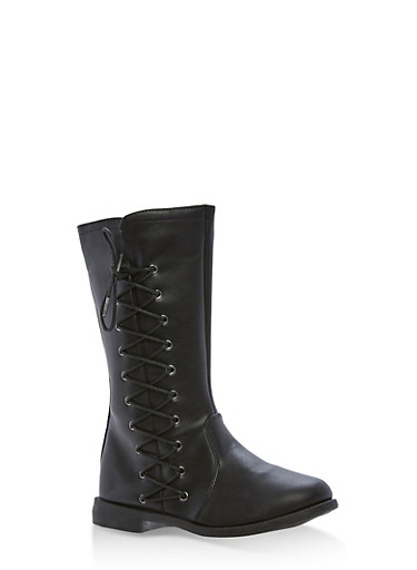 Girls 10-4 Faux Leather Side Lace Up Boots,BLACK,large