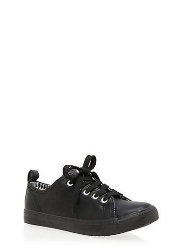 Girls 12-4 Metallic Lace Up Sneakers,BLACK,large