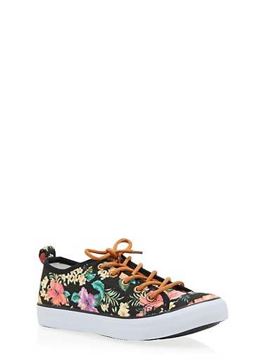 Girls 12-4 Floral Canvas Sneakers,BLACK,large