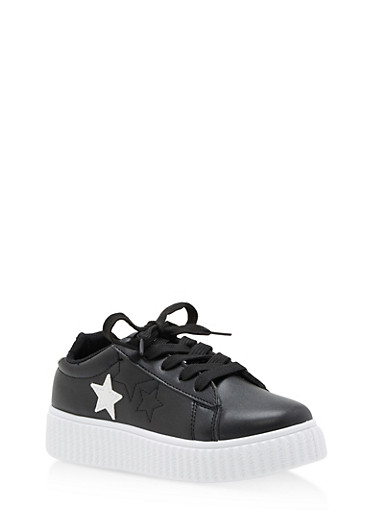 Girls 12-4 Faux Leather Star Creeper Sneakers,BLACK,large