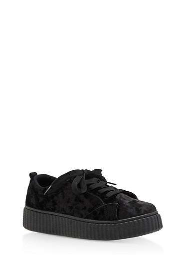 Girls 12-4 Crushed Velvet Creeper Sneakers,BLACK,large