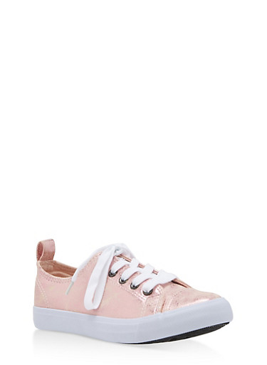 Girls 12-4 Faux Leather Lace Up Sneakers,MAUVE,large
