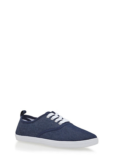 Girls Low-Top Sneakers with Round Toes,DENIM,large