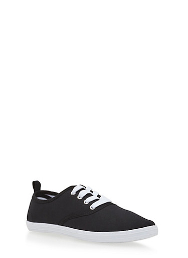 Girls Low-Top Sneakers with Round Toes,BLACK,large