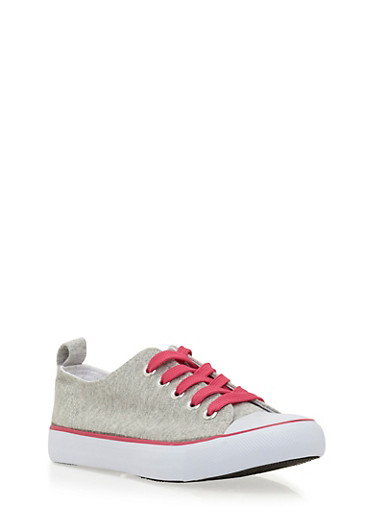 Girls Low-Top Knit Sneakers,HGRY/FUS,large