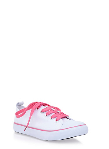 Girls Low-Top Sneakers with Cap Toes,WHT/PNK,large
