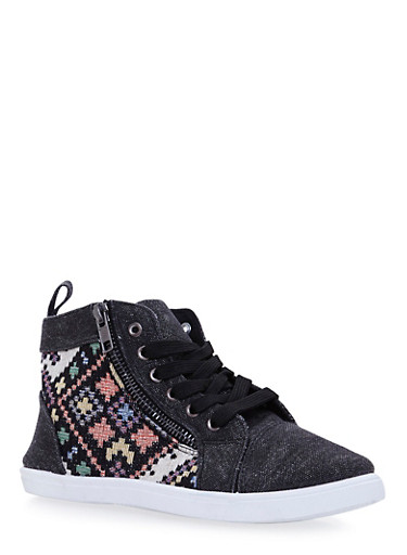 Girls High Top Sneakers with Aztec Knit,BLACK,large