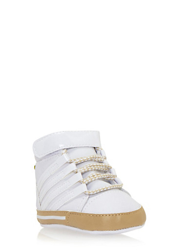 Baby Boy High-Top Sneakers with Patent Stripes,WHITE,large
