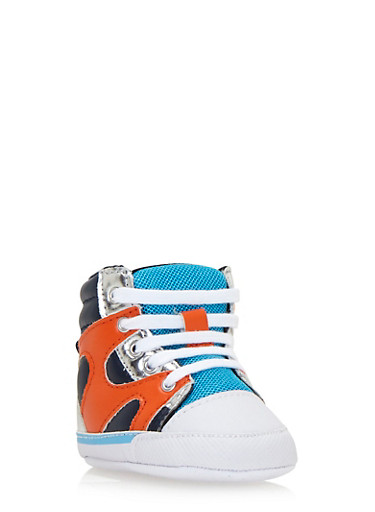 Baby Boy High-Top Sneakers with Ribbed Counters,BLUE/ORG,large