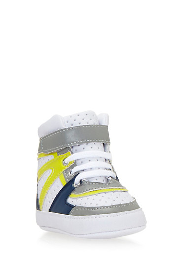 Baby Boy High-Top Sneakers with Perforated Uppers,WHT/LIME,large