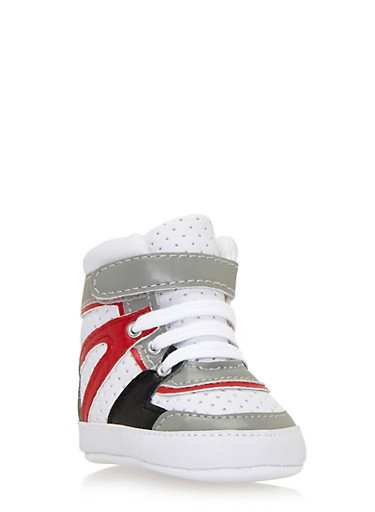 Baby Boy High-Top Sneakers with Perforated Uppers,WHT/BLK/RED,large