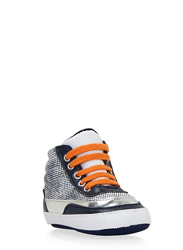 Baby Boy High-Top Sneakers with Ribbed Counters,NVY/WHT,large