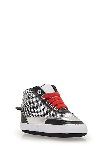 Baby Boy High-Top Sneakers with Ribbed Counters,BLACK/WHITE,large