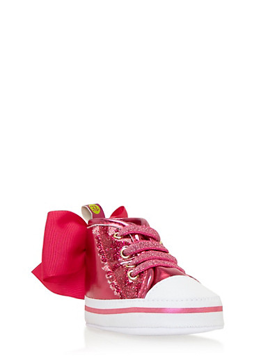 Baby Girl High-Top Sneakers with Grosgrain Bows,PINK,large