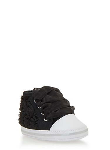 Baby Girl High-Top Sneakers with Rosette Appliques,BLACK,large