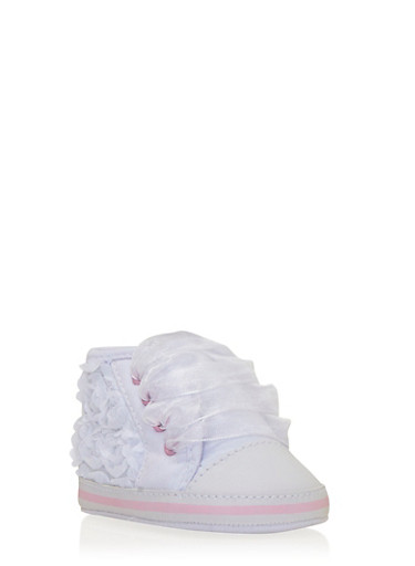 Baby Girl High-Top Sneakers with Rosette Appliques,WHITE,large