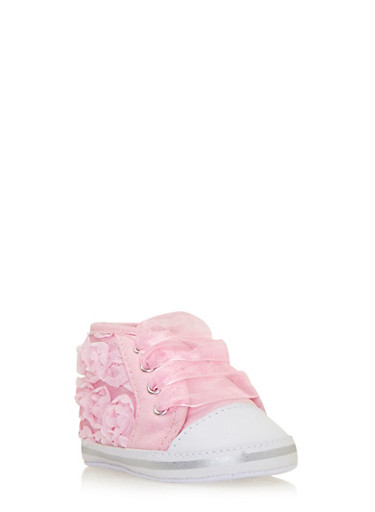 Baby Girl High-Top Sneakers with Rosette Appliques,PINK,large