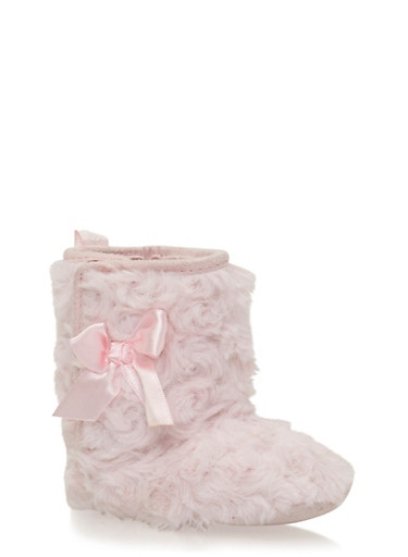 Baby Girl Faux Fur Boot with Satin Bow,PINK,large