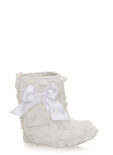 Baby Girl Plush Faux Fur Boots with Bow,WHITE,large