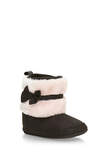 Baby Girl Booties with Faux Fur and Bow,BLACK/PINK,large