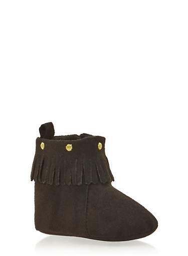 Baby Girl Faux Suede Moccasin Boots with Fringe,BLACK,large