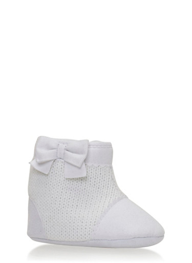 Baby Girl Knit Booties with Bow,OFF WHT,large