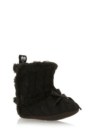 Baby Girl Cable Knit Booties with Faux Fur Trim,BLACK,large