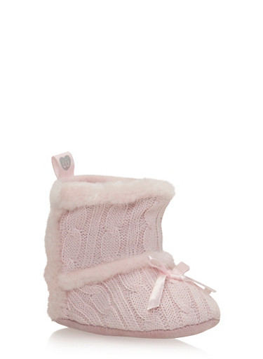 Baby Girl Bow Cable Knit Booties with Faux Fur Trim,PINK,large