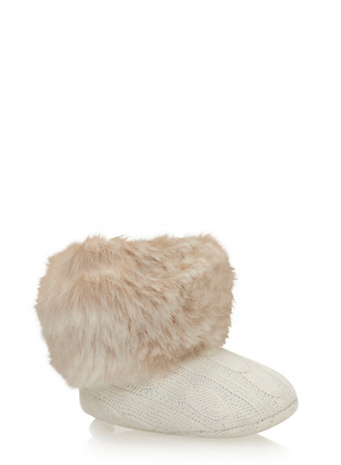 Baby Girl Cable Knit Booties with Faux Fur Trim,WHITE,large
