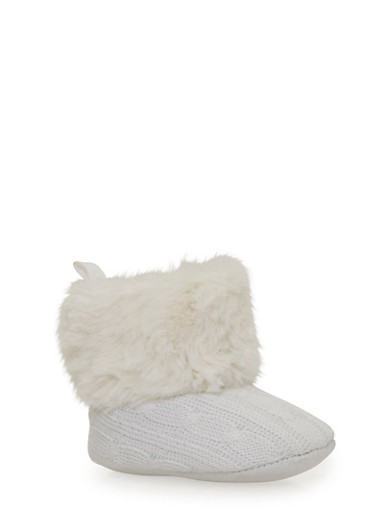 Baby Girl Faux Fur Cable Knit Boots,WHITE,large