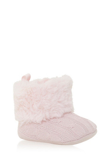 Baby Girl Cable Knit Booties with Faux Fur Panel,PINK,large