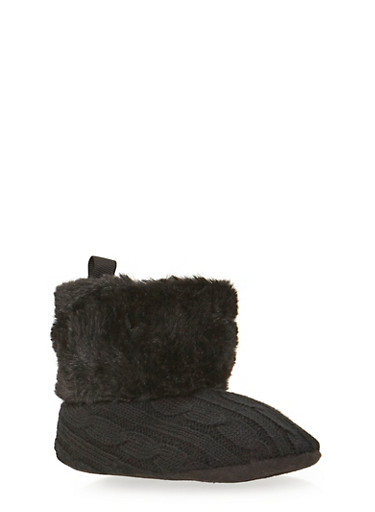 Baby Girl Sweater Knit Boots with Faux Fur Trim,BLACK,large