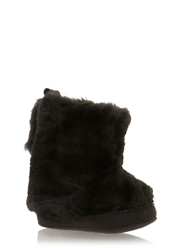 Baby Girl Faux Fur Booties,BLACK,large