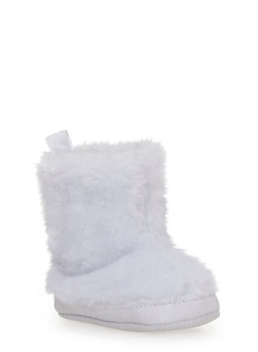 Baby Girl Plush Faux Fur Booties,WHITE,large